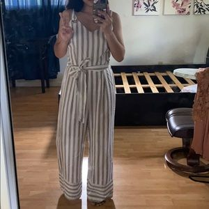 Striped jump suit